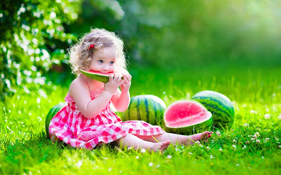 eating-watermelon-small-baby-in-pink-flower