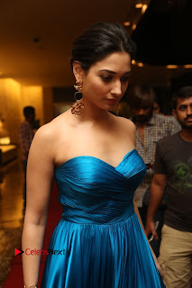 Actress Tamannaah Pictures in Blue Long Dress at Abhinetri Audio Launch  0008