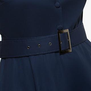 Vestido casual hasta la rodilla, sin mangas, con escote V y cinturón ancho