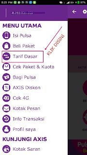 Untuk pindah tarif dasar gaol ke tarif AXIS HITZ silakan klik tarif dasar
