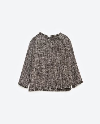 Zara Frayed Tweed Top