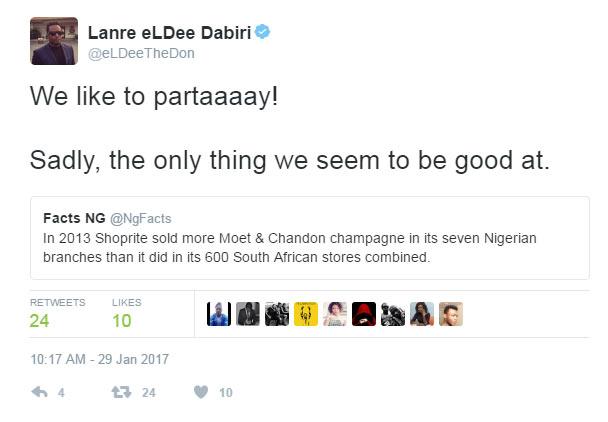 eLDEE roasts Twitter user while ranting on Nigeria's chalenges