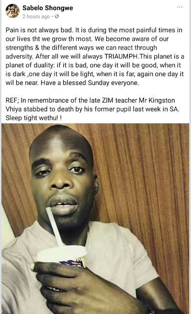 Photos: Zimbabwe teacher stabbed to death in South Africa by his 15-year-old pupil for allegedly failing him