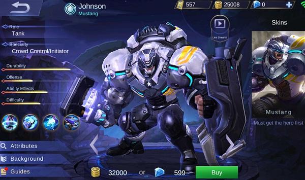 Johnson, Hero Tank Yang Selalu Jadi Langganan Banned di Ranked Match