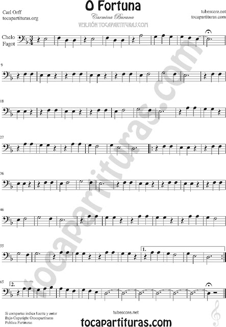 Violonchelo y Fagot Partitura de O Fortuna de Carmina Burana Sheet Music for Cello and Bassoon Music Scores