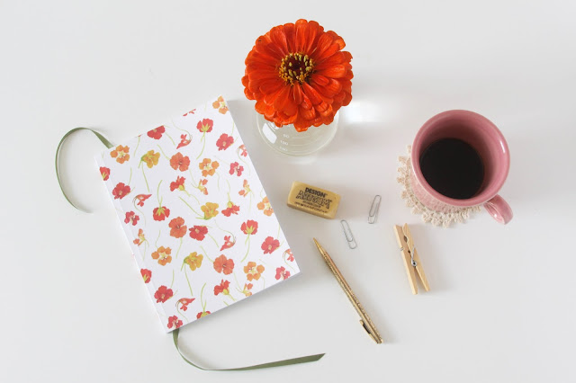 watercolor surface pattern design, watercolor nasturtiums, society6, notebooks, Anne Butera, My Giant Strawberry