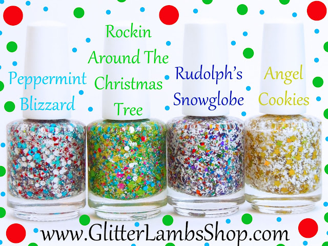 Christmas Indie Cool Lacquer Handmade Custom Nails Pictures Gold Holographic Stars White Shreds Peppermint blizzard, Rockin Around The Christmas Tree, Angel Cookies
