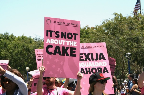 Its not about the cake sign LA Pride 2018