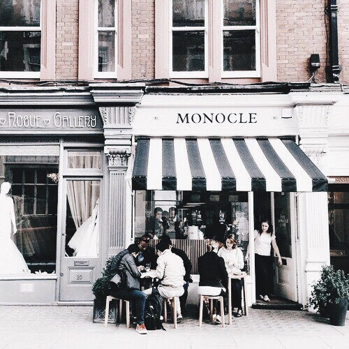 The subdued but classy outside, Monocle Cafe London