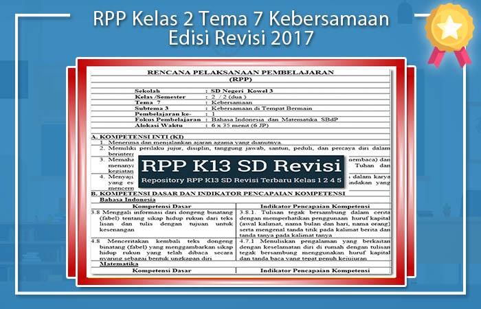 RPP Kelas 2 Tema 7 Kebersamaan