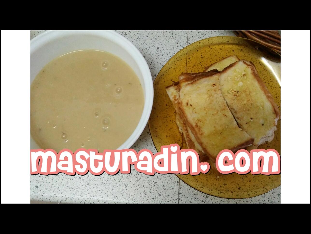 resipi garlic bread menggunakan roti gardenia, instant mushroom soup, resipi mudah minum petang