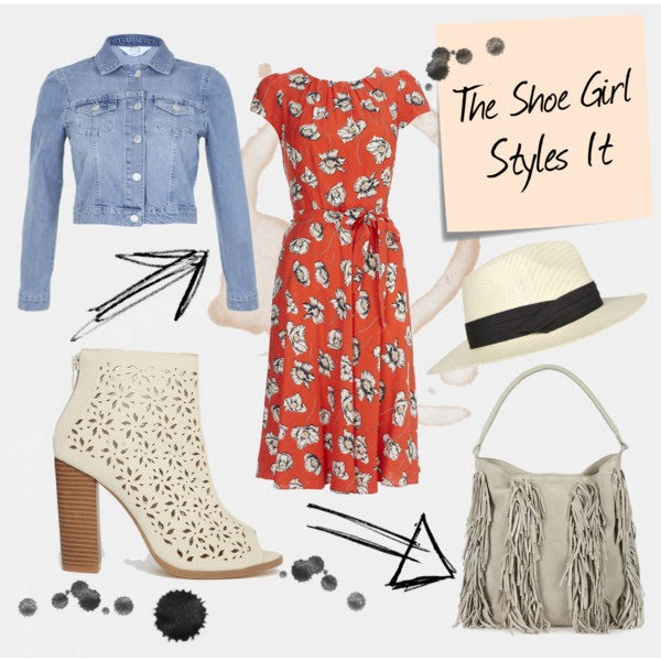 Polyvore outfit set casual high street look for Wallis floral dress with boots and hat
