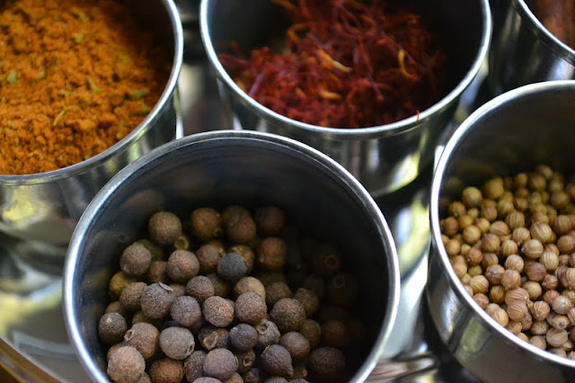 Spices for Persian Jeweled Rice in metal containers