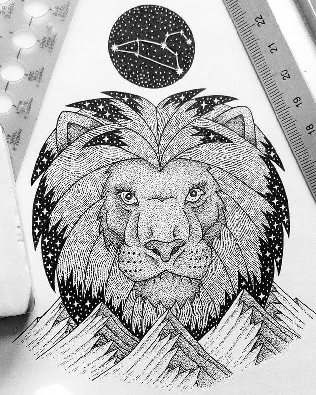 02-Leo-Lion-Dylan-Brady-Stippling-Drawings-in-Ink-www-designstack-co