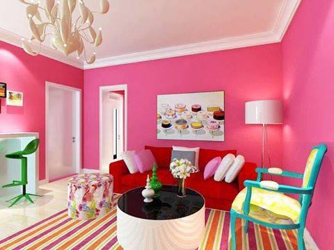 1 Dekorasi Pertama Sofa Yang Dibalut Warna Pink Dengan Corak Muda Tua