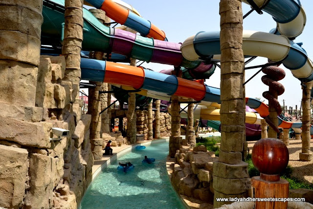 extreme slides and lazy river at Yas Waterworld