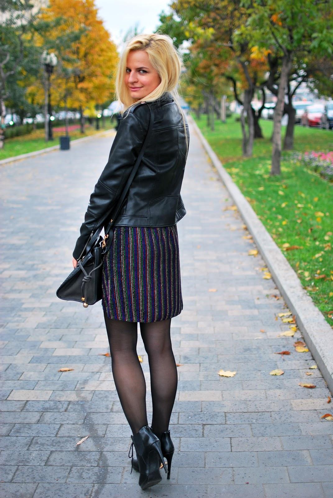 платье из люрекса, с чем носить кожаную куртку,street style ideas, best fashion blogers moscow