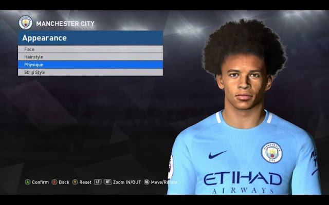 Face Leroy Sane (Man City) PES 2017