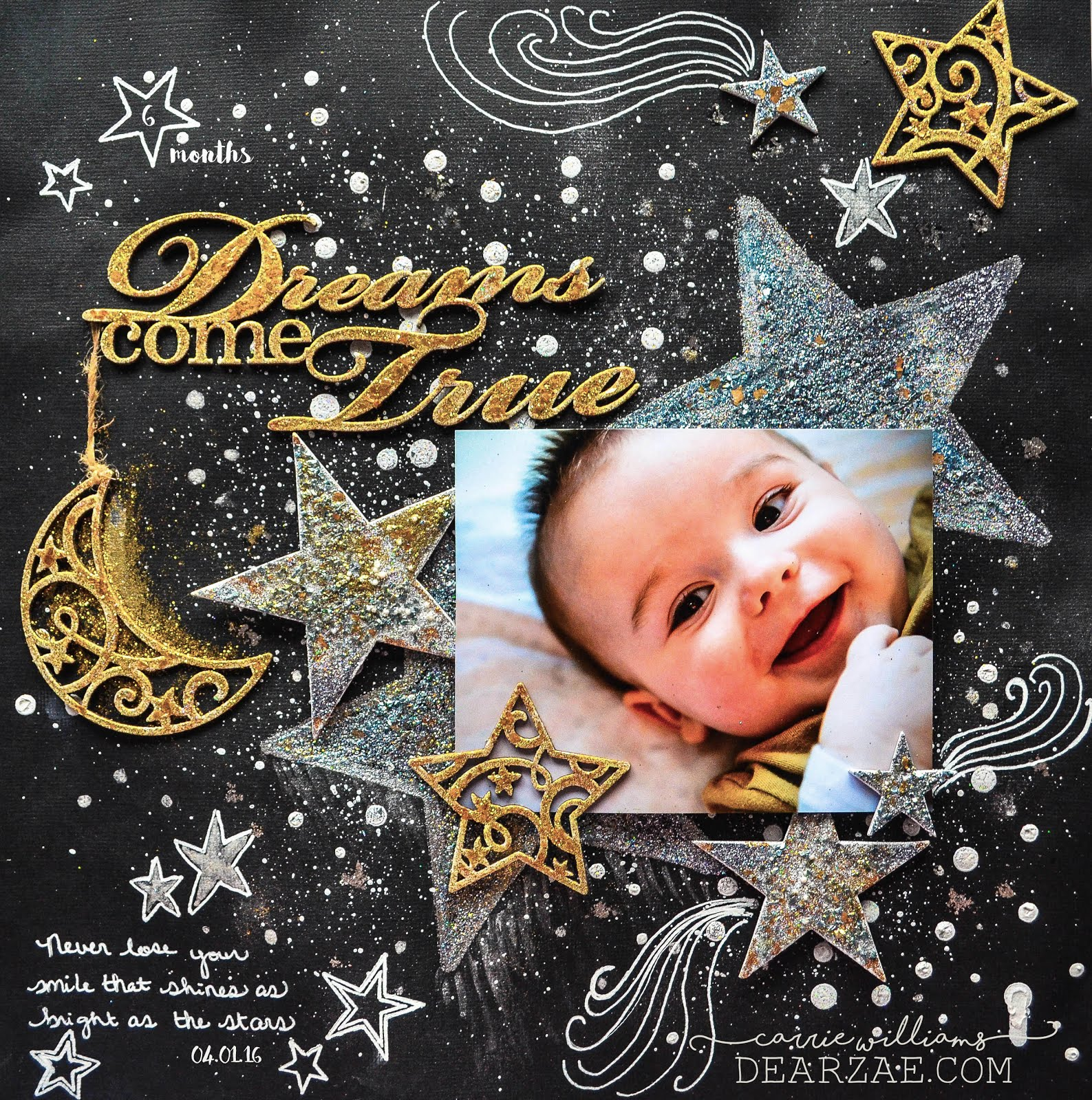 Scrapbook layout challenge - black cardstock background with stars, mixed media with heat embossed chipboard, mica flakes, glitter, blue fern studios chipboard, signo pen doodling, paint splatters, in gold, silver, black, and white with moon and stars using encrusted jewel technique from stampendous