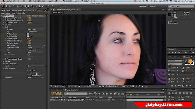 Beauty Box Full Key - Plugin làm mịn xóa mờ mụn cho After Effects và Premiere