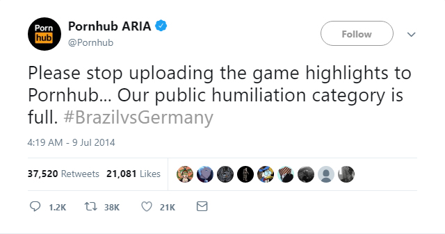 Pornhub begs users to stop uploading clips of Brazil getting beaten 7-1 by Germany