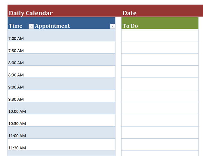 30 day planner template