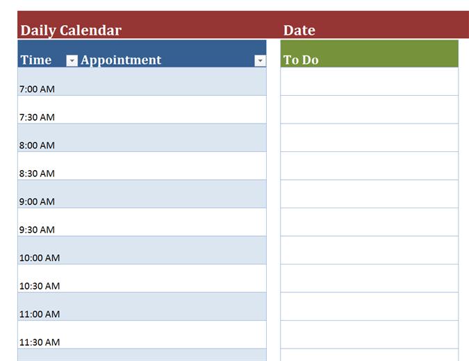 daily calendar template 2018
