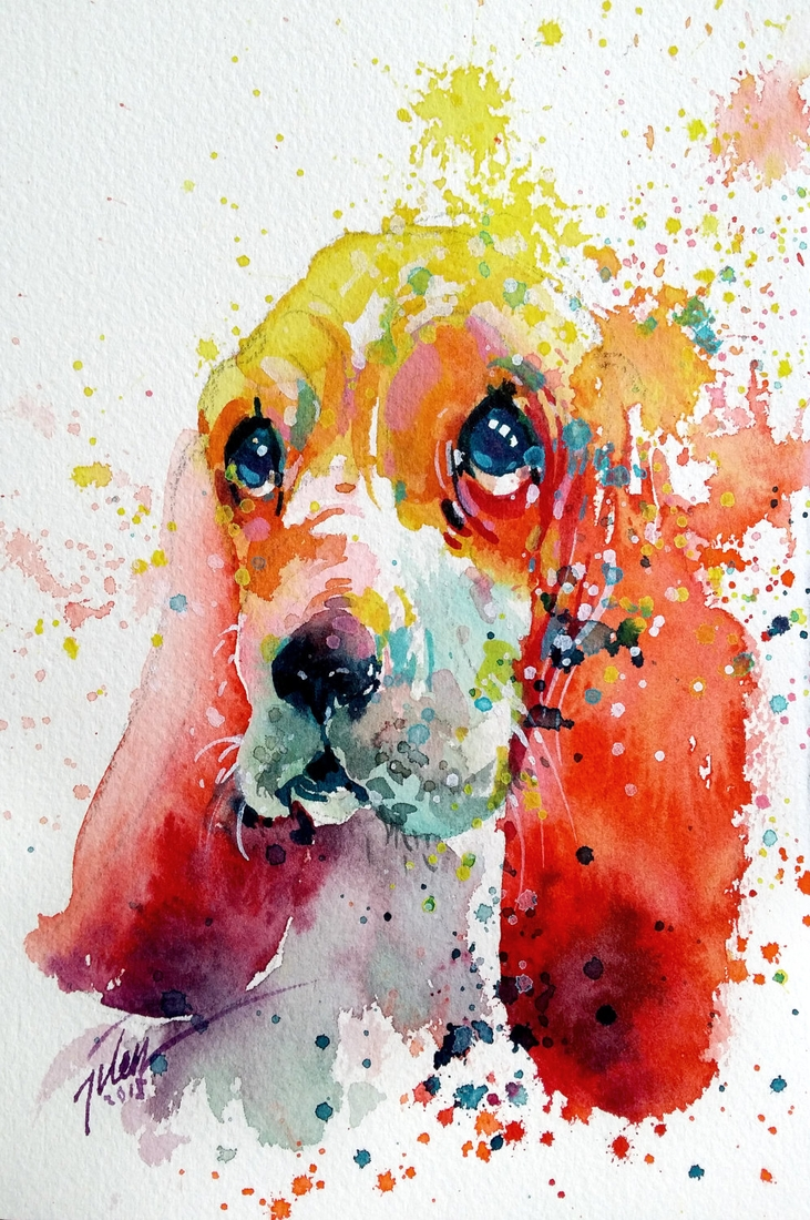 05-Basset-Hound-Tilen-Ti-Colorful-Watercolor-Paintings-of-Animals-www-designstack-co