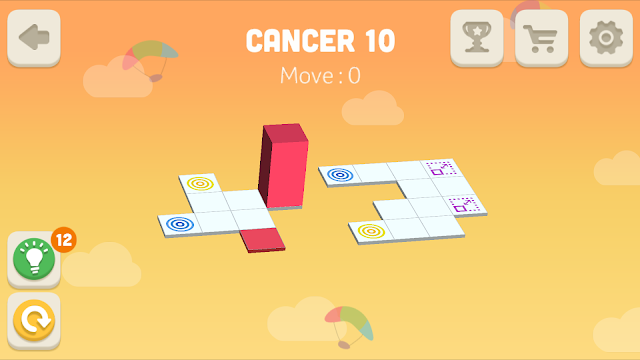Bloxorz Cancer Level 10 step by step 3 stars Walkthrough, Cheats, Solution for android, iphone, ipad and ipod