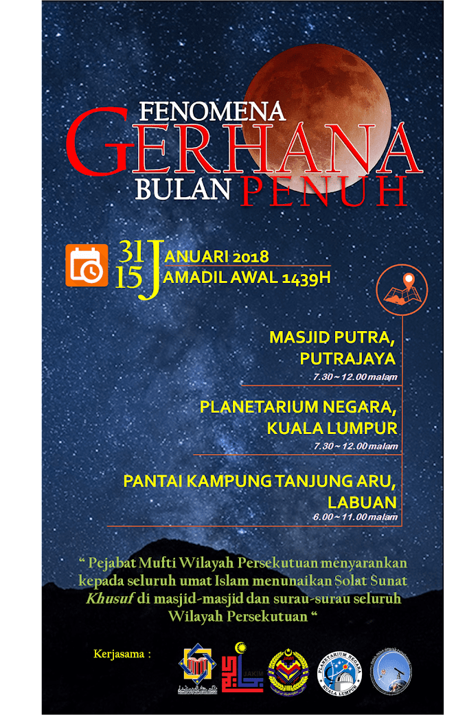 Super Blue Blood Moon 31 Januari 2018 & Cara Solat Sunat Gerhana Bulan