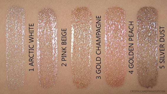 Make Up For Ever Star Lit Liquids Swatches 1 Arctic White 2 Pink Beige 3 Gold Champagne