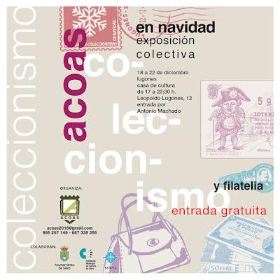 Cartel de la exposición de coleccionismo en Lugones