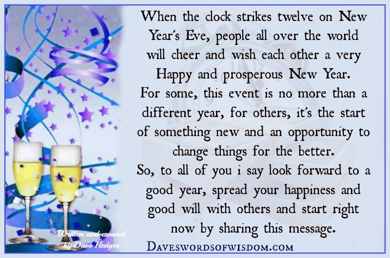 Daveswordsofwisdom.com: Look forward to the New Year.