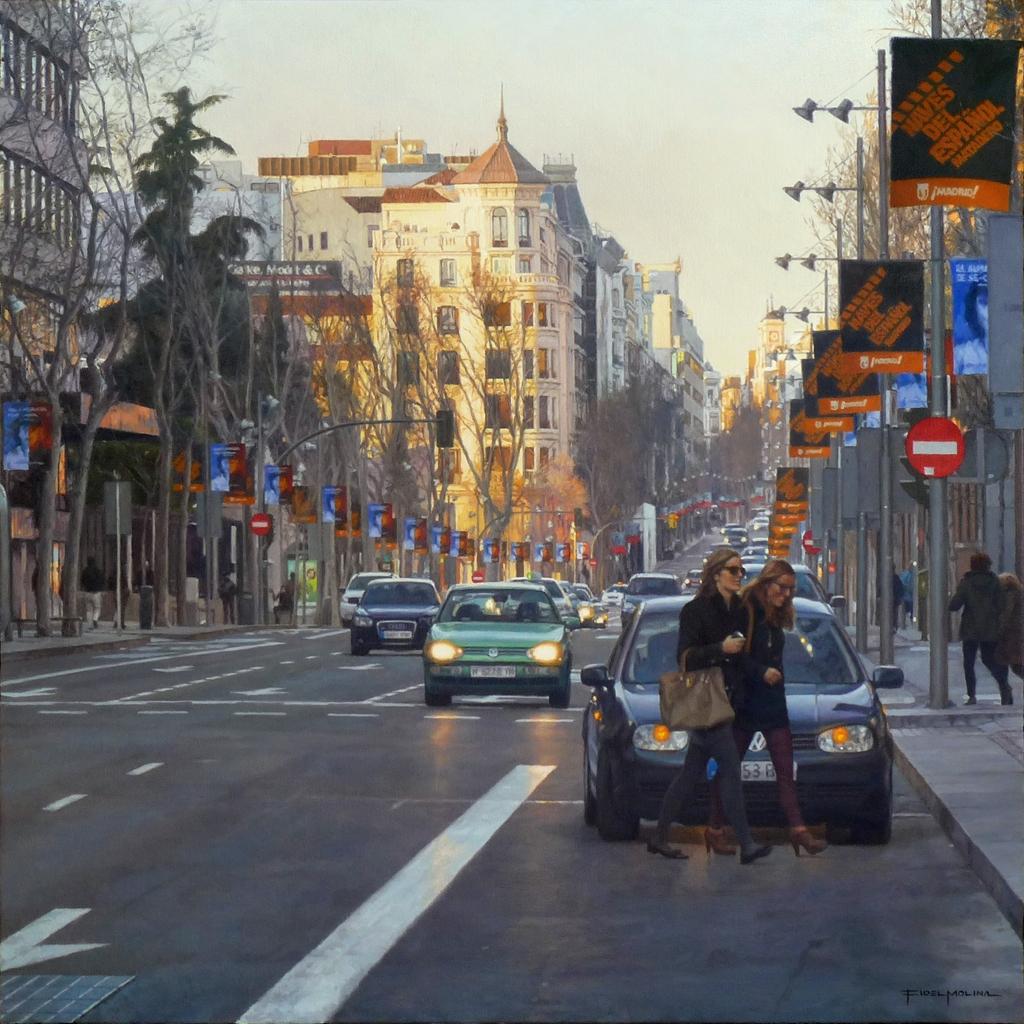 04-Luz-del-atardecer-en-la-calle-Serrano-Fidel-Molina-Realistic-Paintings-of-Cities-Frozen-in-Time-www-designstack-co