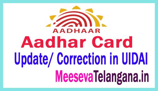 Aadhar Card Update/ Correction in UIDAI