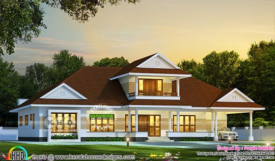 Beautiful sloping roof house night view rendering