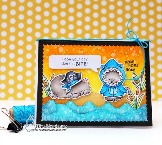 Shark and Pirate costumed Cats |  Card by Ellen Haxelmans | Newtons Costume Party Stamp set by Newton's Nook Designs #newtonsnook handmade
