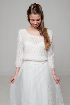 Novia con jersey y falda de tul