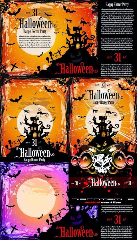 4 Plantillas para posters de fiesta para halloween en vectores