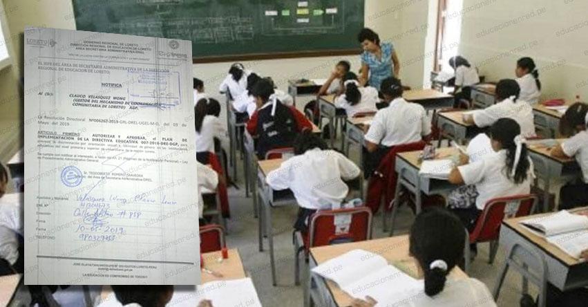 En Loreto, colegios van a prevenir la discriminación a los LGTBI, según Directiva N° 007-2018-DRE-DGP