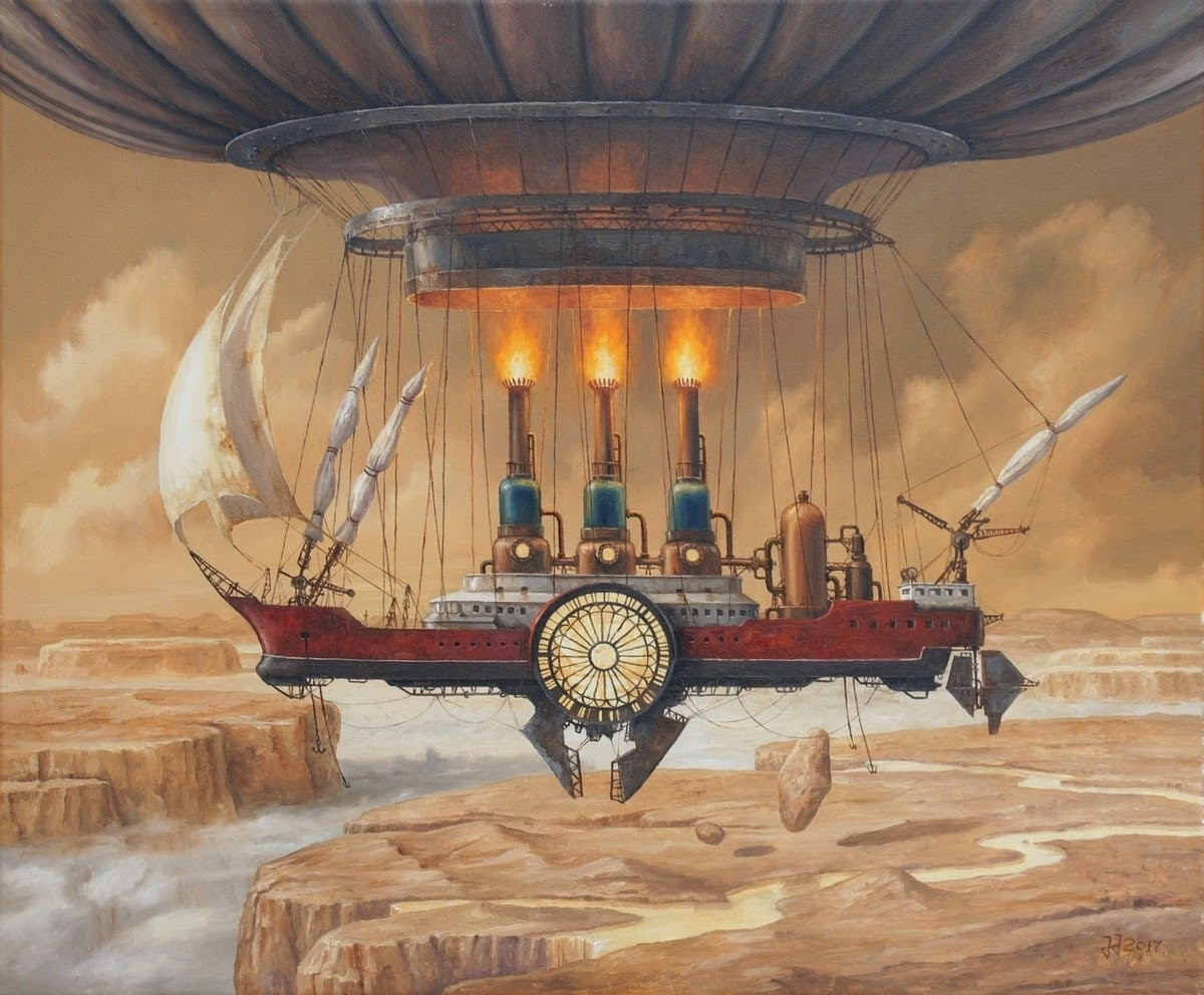 04-Flight-over-the-Canyon-of-Clouds-Jarosław-Jaśnikowski-Paintings-of-Flying-Machines-and-Architectural-Surrealism-www-designstack-co
