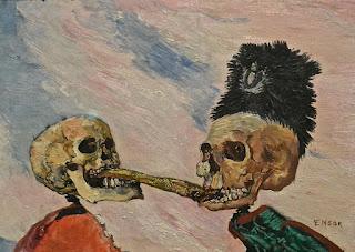 musées royaux des beaux-arts de Bruxelles  musée Fin du siècle James Ensor : squelettes se disputant un hareng-saur
