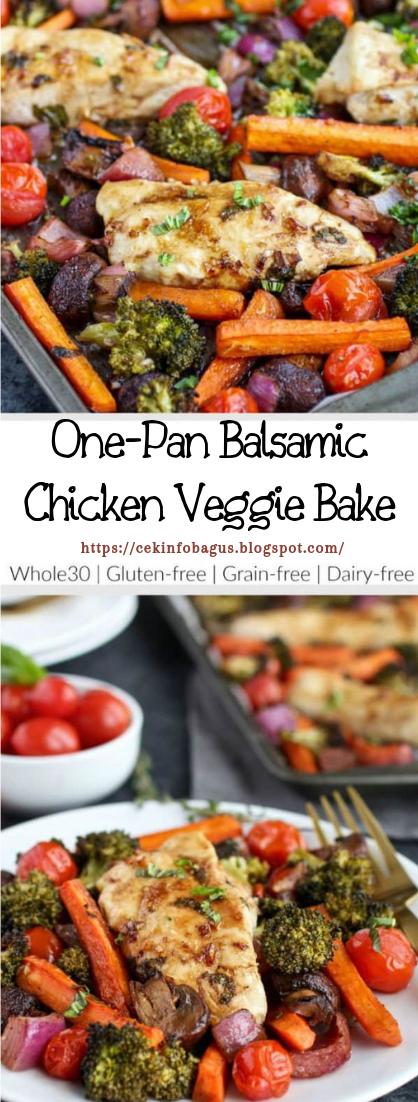 One-Pan Balsamic Chicken Veggie Bake #dinnerrecipe #food
