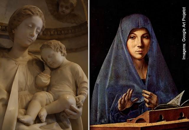 """""""A Madonna com o Menino"""", de Antonello Gagini, e a """"Annunziata"""", de Antolello di Messina, no Palácio Abatellis de Palermo"""
