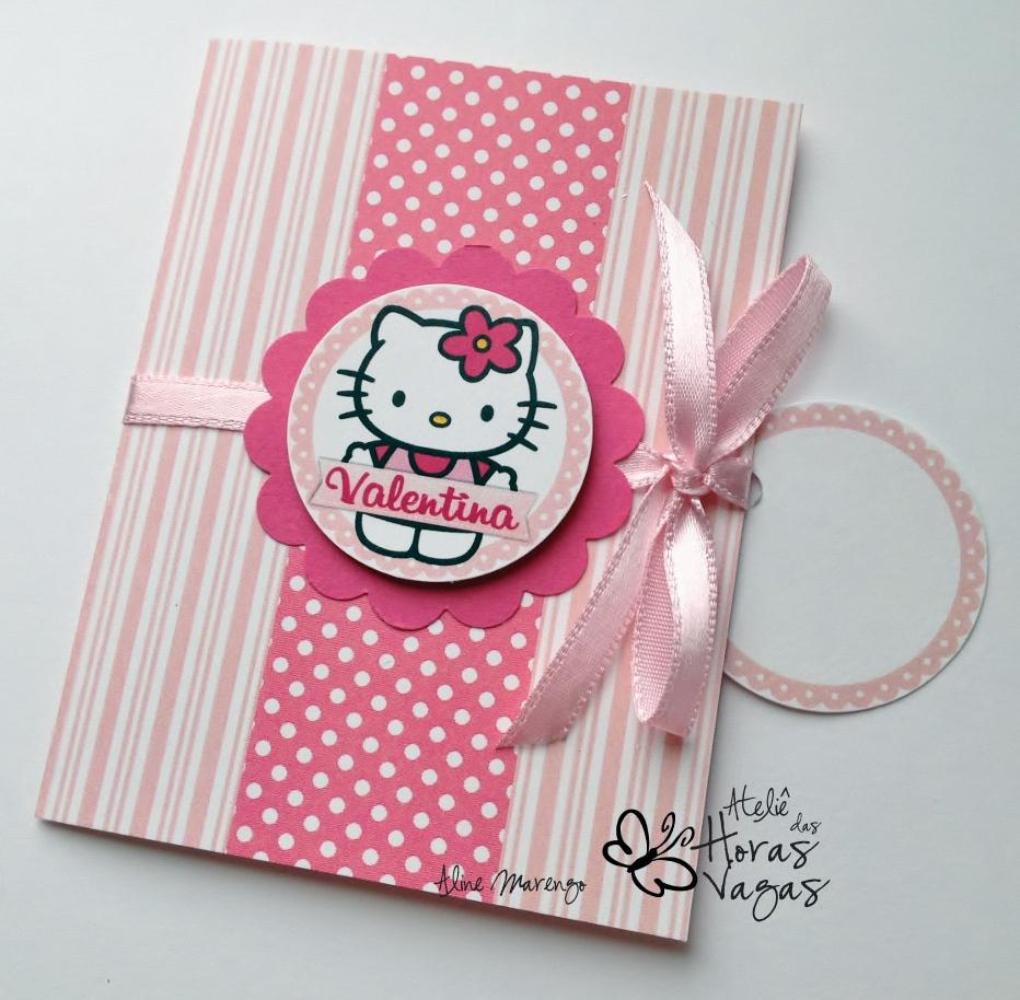 convite artesanal aniversário infantil gatinha hello kit gato menina 1 aninho rosa pink