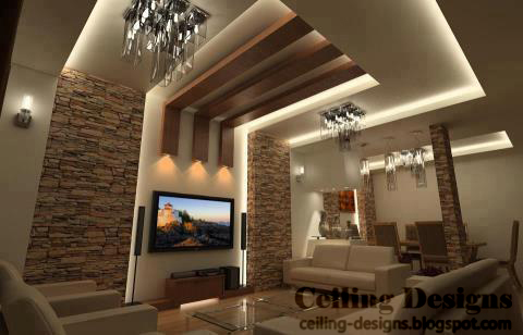 Wood ceiling panels ideas for living room decoration