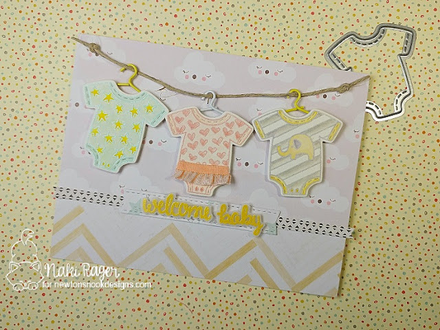 Baby Laundry Card by Naki Rager | Loveable Laundry stamp set and Stitched Onsie die set by Newton's Nook Designs #newtonsnook