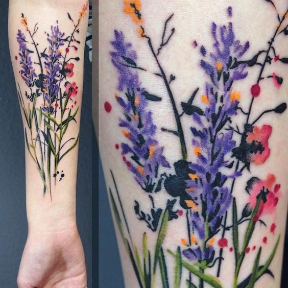 Watercolor Floral Tattoos
