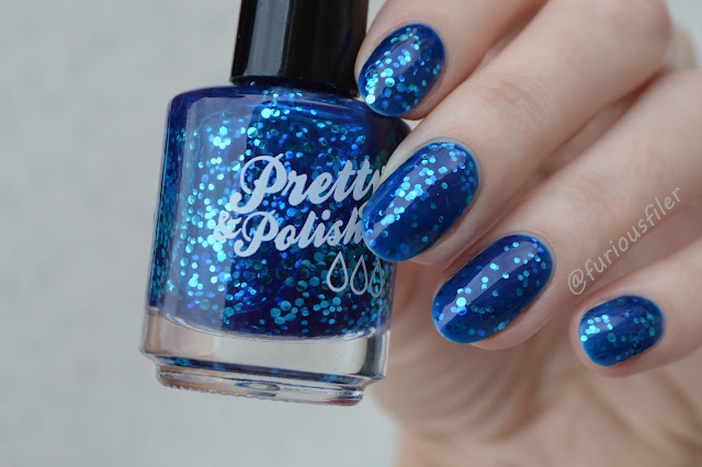 pretty&polished blue jelly glitter sparkle swatch indie