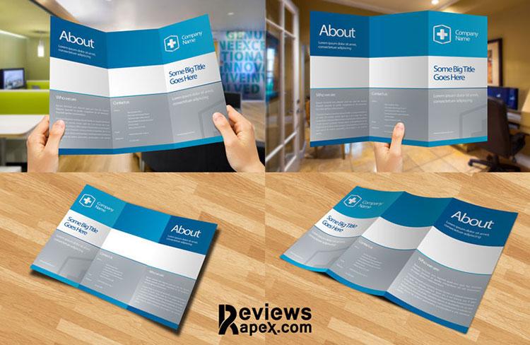 Blank Tri Fold Paper Brochure Mockup